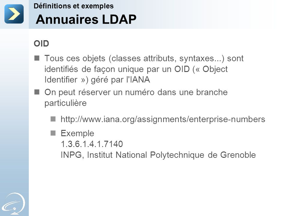 31-Mar-17 Définitions et exemples. [Title of the course] Annuaires LDAP. OID.